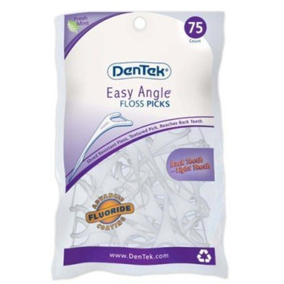 Dentek Floss Picks Easy Angle Fresh Mint 75's Bagged (3-pack) with Free Nail File