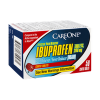 CareOne Ibuprofen Coated Tablets Pain Reliever/Fever Reducer - 50 CT