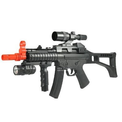 HY017B Spring Airsoft Rifle 230-FPS, Great Beginner Airsoft Gun with Tactical Light and Faux Scope