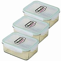 Kinetic Go Green GlassLock 64 Ounce Rectangular Storage Container 3 Pack