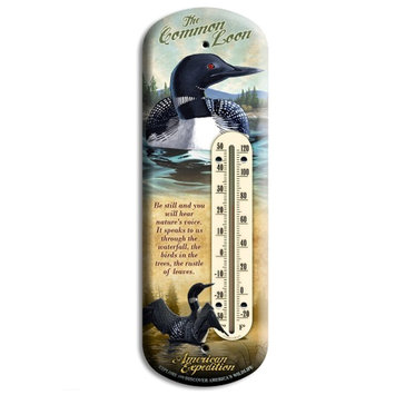 American Expedition Loon Tin Back Porch Thermometer BTHM-121