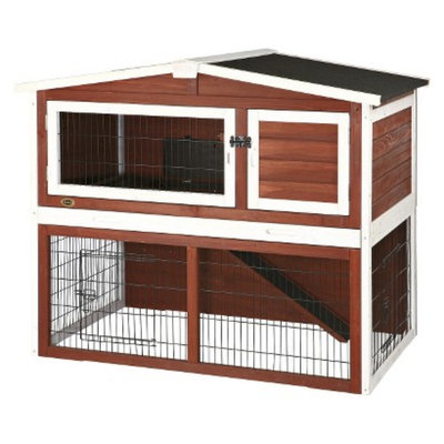 Trixie Rabbit Hutch with Peaked Roof - brown/white - Medium