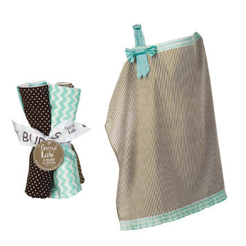 Test NURSING COVER AND BURP CLOTH SET COCOA MINT
