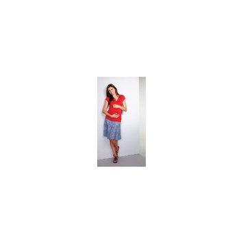 Maternal America : Tiered Cotton Skirt - Thatch Blue