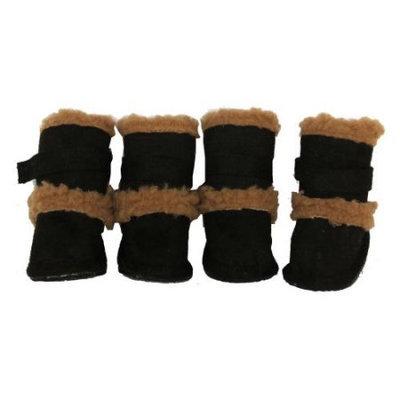 Pet Life Llc Pet Life Black Shearling Duggz Dog Boots LG