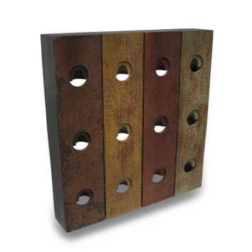 Zeckos Rustic Wood Plank 12 Bottle Wine Rack Bottle Holder Wall Hanging