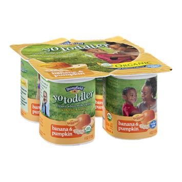Stoneyfield Yo Toddler Whole Milk Yogurt with Fruit & Veggies - Banana & Pumpkin 4 CT