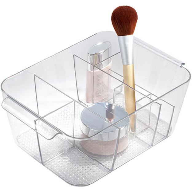 InterDesign Clarity Divided Cosmetic Organizer Bin