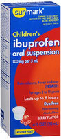 Sunmark Childrens Ibuprofen Oral Suspension Dye-Free, Berry 4 oz by Sunmark