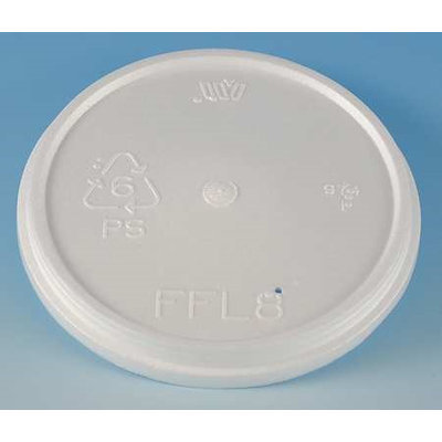 WINCUP FFL8 Disposable Lid, Foam, Vented, White, PK 500