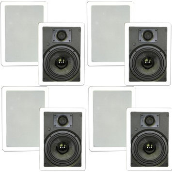 Theater Solutions 6.5 In Wall Surround Sound Deluxe HD Home Theater Speakers 4 Pair Pack 2000 Watts 4TSS6W