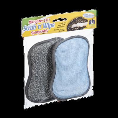 A & H Scrub 'n' Wipe Microfiber 2 'n' 1 Sponge Pads - 2 CT
