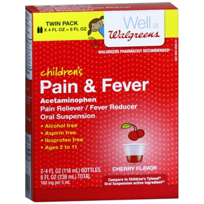 Walgreens Acetaminophen Twin Pack 80Mg Child Cherry Suspension