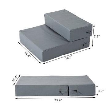 Pawhut 2 Step Leather Folding Pet Stairs - Light G