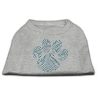 Mirage Pet Products 5254 SMGY Blue Paw Rhinestud Shirt Grey S 10