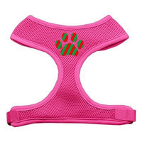 Mirage Pet Products 7007 SMPK Christmas Paw Screen Print Soft Mesh Harness Pink Small