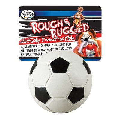 Four Paws Rough and Rugged 2.75 Inch Soccer Ball with Bell Dog Toy