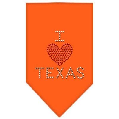 Mirage Pet Products 6740 LGOR I Heart Texas Rhinestone Bandana Orange Large