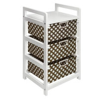 Badger Basket White 3-Drawer Hamper/Storage - Brown/Polka Dots