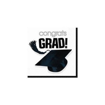Amscan 202600 Congrats Grad White Graduation Lunch Napkins