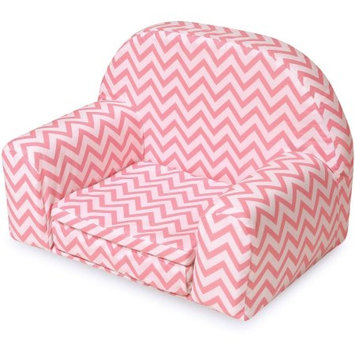 Badger Basket Upholstered Doll Chair with Foldout Bed Pink Chevron