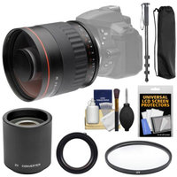 Vivitar 500mm f/6.3 Mirror Lens with 2x Teleconverter (=1000mm) + Monopod + Filter + Accessory Kit for Nikon Digital SLR Cameras
