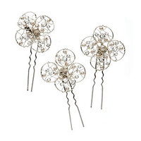 Colette Malouf Set of 3 Pearl and Crystal Flower Curved Hairpins in Pouch