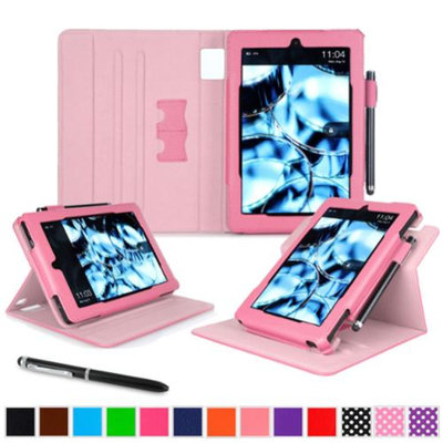 Kindle Fire HD 7 Tablet (2014) Case, roocase new Kindle Fire HD 7 Dual View Folio Case with Sleep / Wake Smart Cover Stand for All-New 2014 Fire HD 7 Tablet (4th Generation), Pink