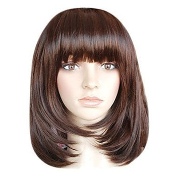 Green Capless Shoulder-length Top Grade Quality Synthetic Chocolate Brown Bob Style Morden Hair Wig