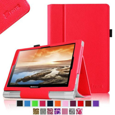 Fintie Lenovo Yoga 10 / Yoga 10 HD+ Folio Case - Premium Leather Cover With Stylus Holder, Red