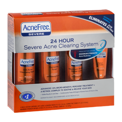 Acne Free 24 Hour Severe Acne 4 Piece Cleaning System