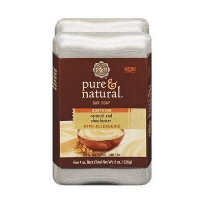 Pure & Natural Bar Soap Cleansing Soothing Oatmeal & Shea Butter , 4-ounce Double Pack Bars (Pack of 4)