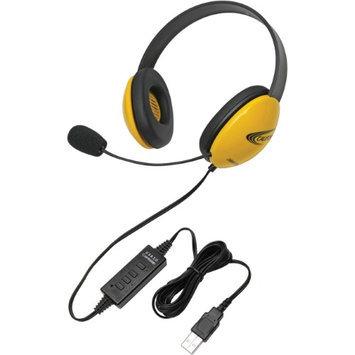 Califone Yellow Stereo Headset w/ Mic, USB Connector Via Ergoguys