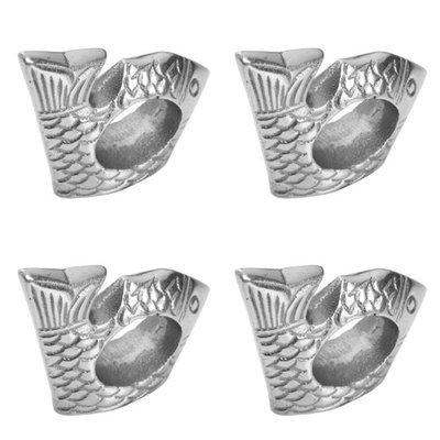 India Handicrafts Fish Napkin Rings Set of 4 Silver Tone Metal