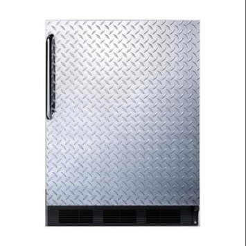 Summit Appliances CT66BBIDPL Built-in undercounter refrigerator-freezer with cycle defrost, diamond plate wrapped door and black cabinet