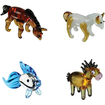 BrainStorm Looking Glass Miniature Glass Figurines, 4-Pack, Arabian House/Pinto Horse/Goldfish/Horsey