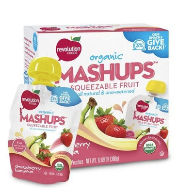 Revolution Foods Organic Mashups Squeezable Fruit, Strawberry Banana, 4-Count Mashups (Pack of 6)