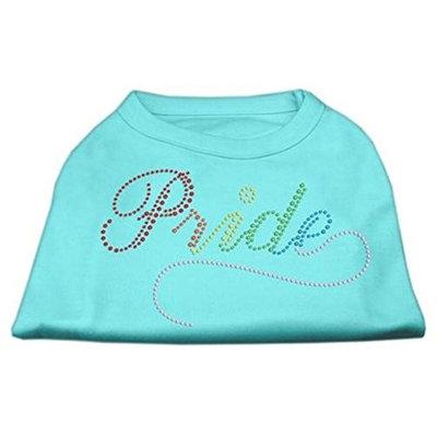 Mirage Pet Products 5265 XLAQ Rainbow Pride Rhinestone Shirts Aqua XL 16