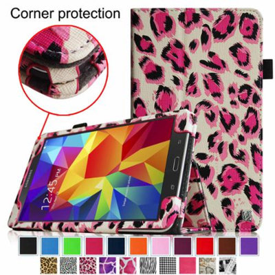 Fintie Folio Premium Vegan Leather Case Cover for Samsung Tab 4 7.0 7-Inch Tablet, Leopard Magenta