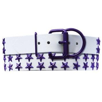Platinum Pets Genuine White Leather Dog Collar with Stars