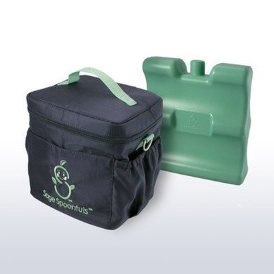 On The Go Sage Spoonfuls Baby Food Insulated On-the-Go Cooler Bag with Freezer Pack BPA Free - Black/Green