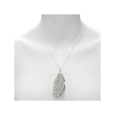 CC SKYE Pave Feather Pendant Necklace