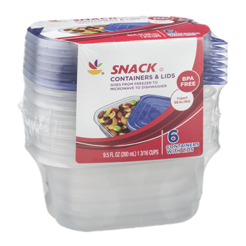 Ahold Snack Containers & Lids - 6 CT