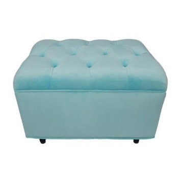 Fun Furnishings Tres Chic Ottoman - Aqua Velvet