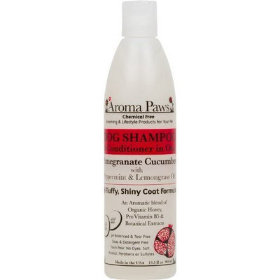 Aroma Paws 12 oz. Luxury Dog Shampoo & Conditioner in One Pomegranate Cucumber: Fluffy Shiny Coat Formula