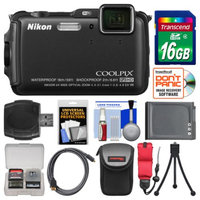 Nikon Coolpix AW120 Shock & Waterproof Wi-Fi GPS Digital Camera (Black) with 16GB Card + Case + Battery + Flex Tripod + Accessory Kit