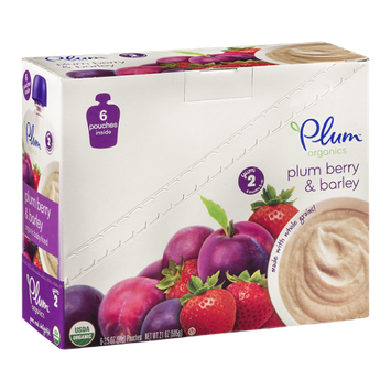 Plum Yum 2 Organic Baby Food Pouches (6 Months & Up) Plum Berry & Barley - 6 CT