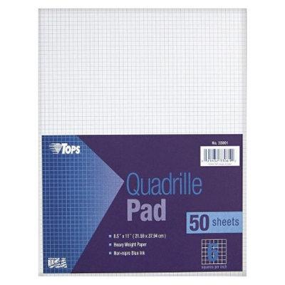 TOPS 8-1/2 x 11 Quadrille Pads, 6 Squares/inc- White (50 Sheets per