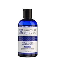 Nurture My Body Fragrance Free Organic Baby Shampoo & Body Wash SLS & Phthalate Free- Sensitive Skin, 8oz-240ml