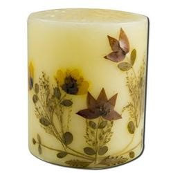 Auroshikha Candles & Incense 3 in Pillar (2-3/4 in x 3 in) Flower Candles Cinnamon Auroshikha Candles & Incen
